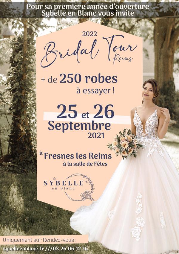 affiche bridal tour reims - sybelle en blanc
